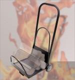 Chevalet transport bûche bois roues spéciales surfaces irrégulières