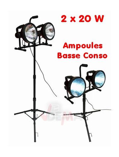 Projecteur de chantier ou de studio 2 spots x 36 W - Eco Energie