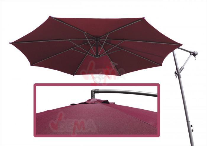 Parasol déporté rond de Ø 3,5 m de couleur bordeaux