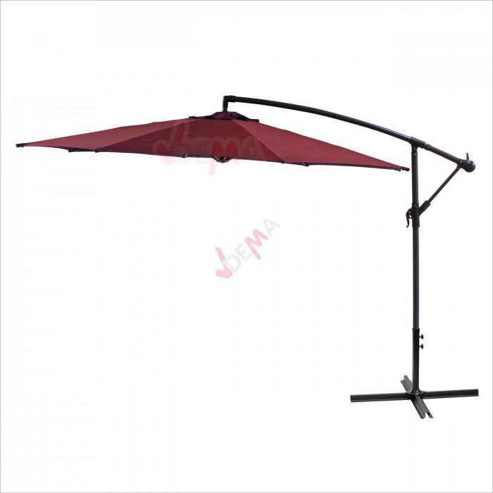 Parasol d port rond de 3 5 m de couleur bordeaux - Pied de parasol deporte a roulettes ...