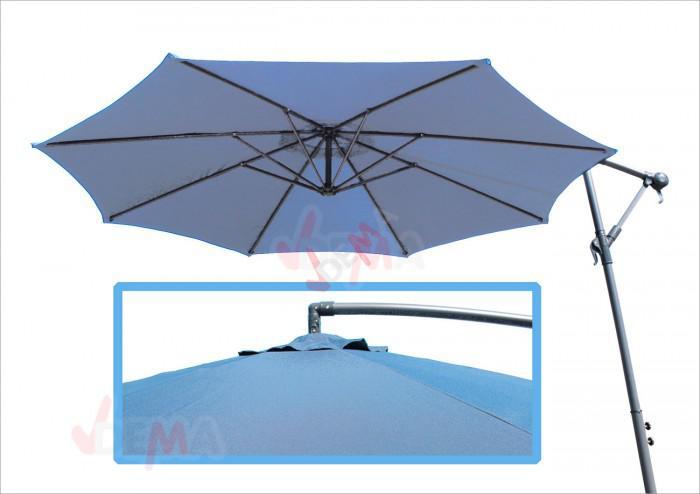Parasol déporté rond de Ø 3,5 m de couleur bleu clair