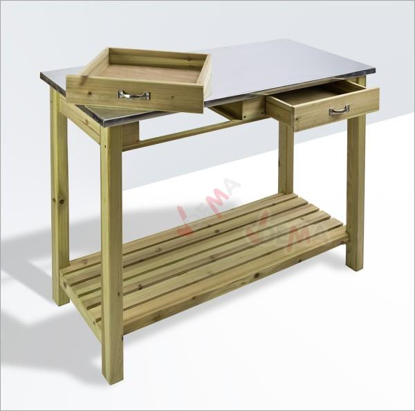 table multi fonctions de jardin avec plateau en zinc jardin entretien. Black Bedroom Furniture Sets. Home Design Ideas