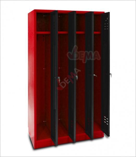 Armoire vestiaires 4 portes Rouge/anthracite