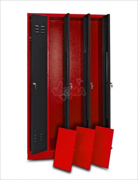 Armoire vestiaires 4 portes Rouge/anthracite