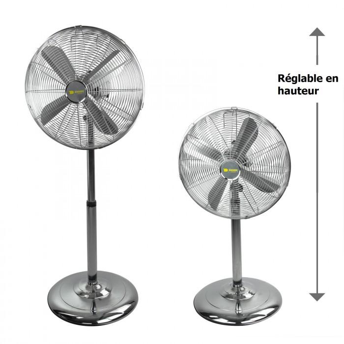 Ventilateur sur pied chromé 55 Watt