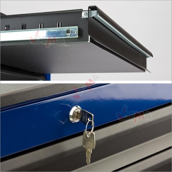 Servante XL 7 tiroirs Bleu / Noir
