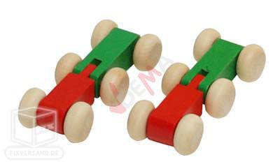 Piste de boule de bois Rainbow avec deux véhicules