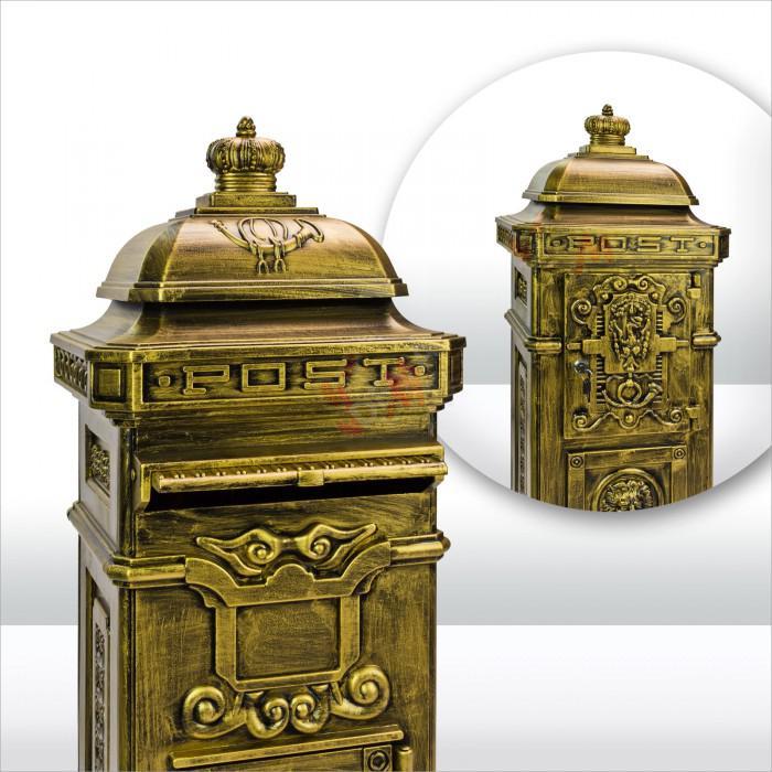 Boîte aux lettres pilier nostalgie de couleur d'aspect bronze