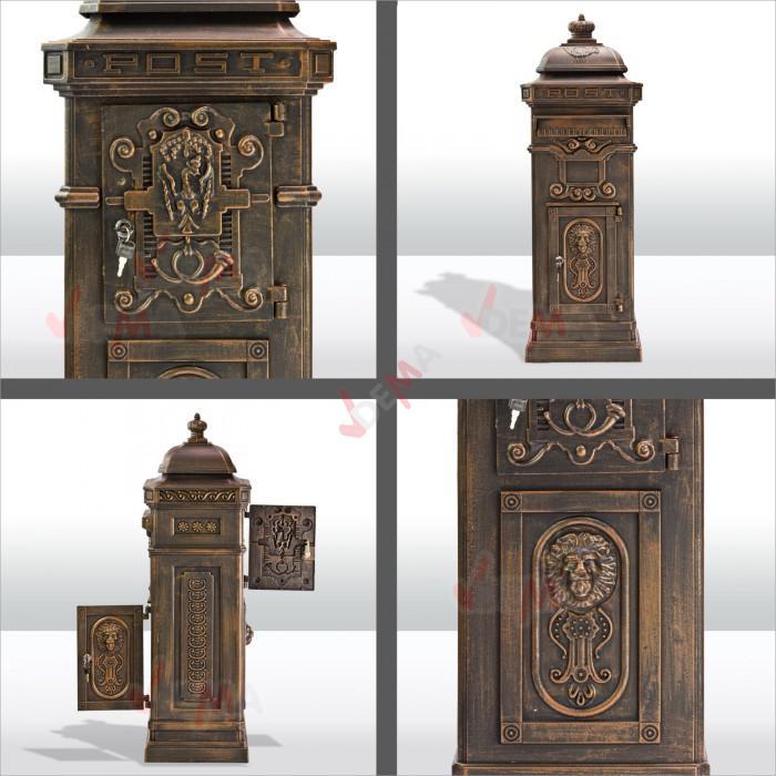 Boîte aux lettres pilier nostalgie de couleur et d'aspect noir cuivre