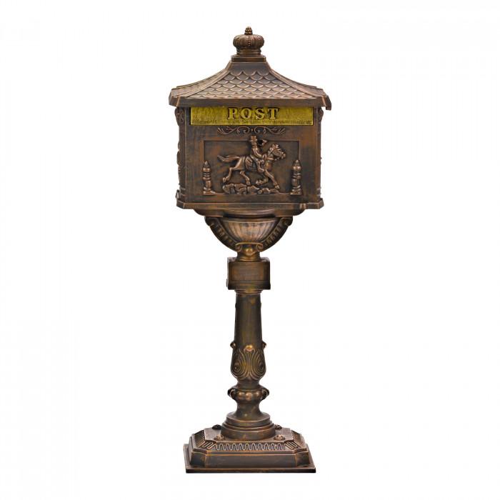 Boîte aux lettres pilier d'aspect antique et de couleur bronze