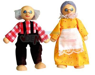 Maison de poupées en BOIS - avec meubles et 2 poupées