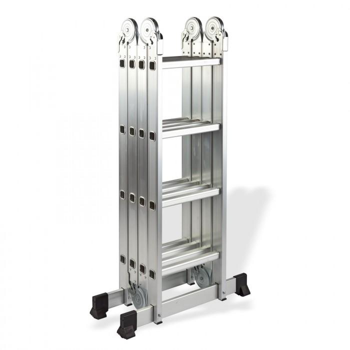 Échelle multi-usage en aluminium pliable quatre parts 4 échelons