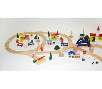 Petit train en bois 110 objets - peintures testées garanties