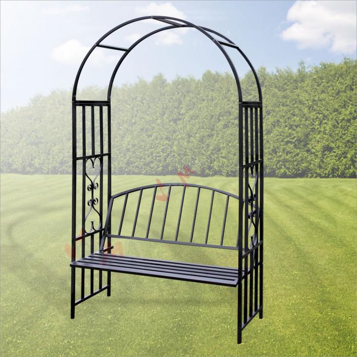 arche de jardin turin avec banc pour rosier et plante grimpante jardin entretien. Black Bedroom Furniture Sets. Home Design Ideas
