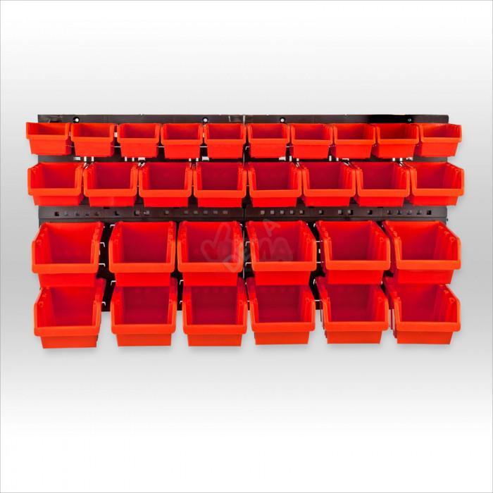 Bacs de rangement pvc avec support mural 30 bacs