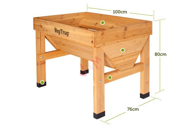 potager en bois sur pieds petit veg trug 100 cm jardin. Black Bedroom Furniture Sets. Home Design Ideas