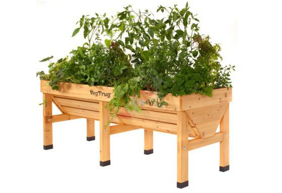 potager en bois sur pieds double veg trug 180 cm jardin entretien. Black Bedroom Furniture Sets. Home Design Ideas