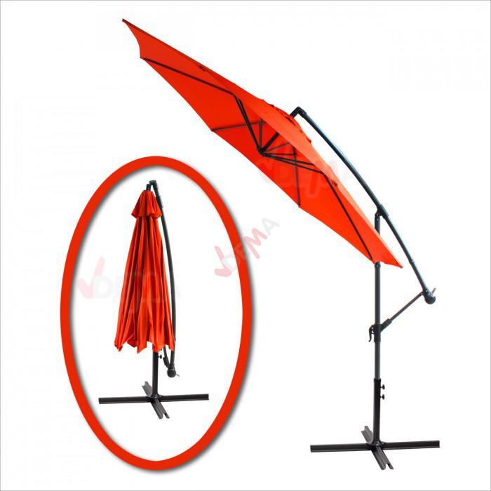 Parasol déporté rond de Ø 3 m de couleur terra cotta