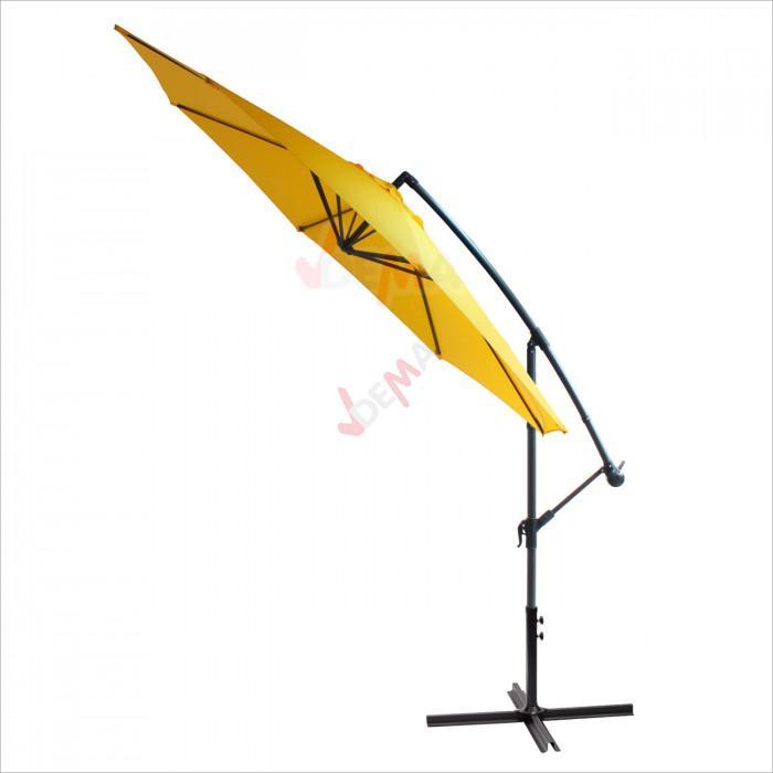 Parasol déporté rond de Ø 3 m de couleur jaune