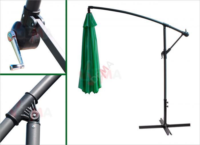 Parasol déporté rond de Ø 3 m de couleur verte