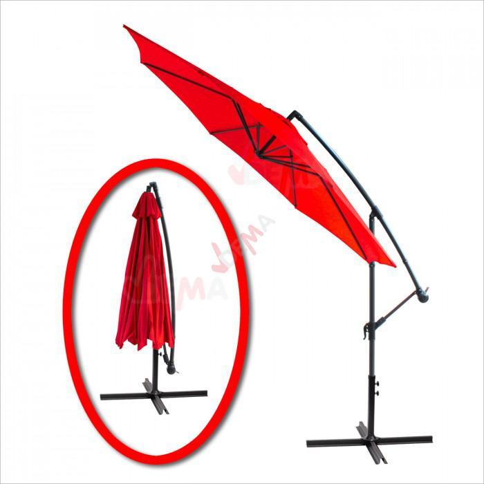 Parasol d port rond de 3 5 m de couleur rouge plein air camping - Parasol deporte rouge ...