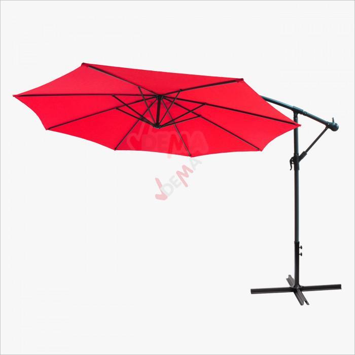 Parasol déporté rond de Ø 3,5 m de couleur rouge