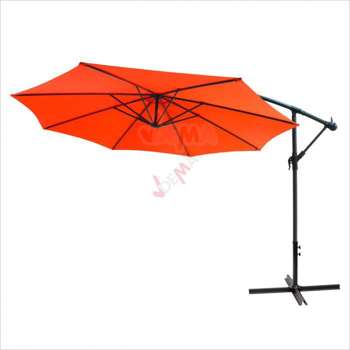 Parasol d port rond de 3 5 m de couleur orange plein - Parasol deporte rouge ...