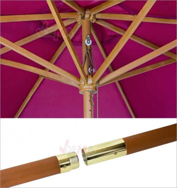 Parasol en bois bordeaux d´une envergure de 2,70 m