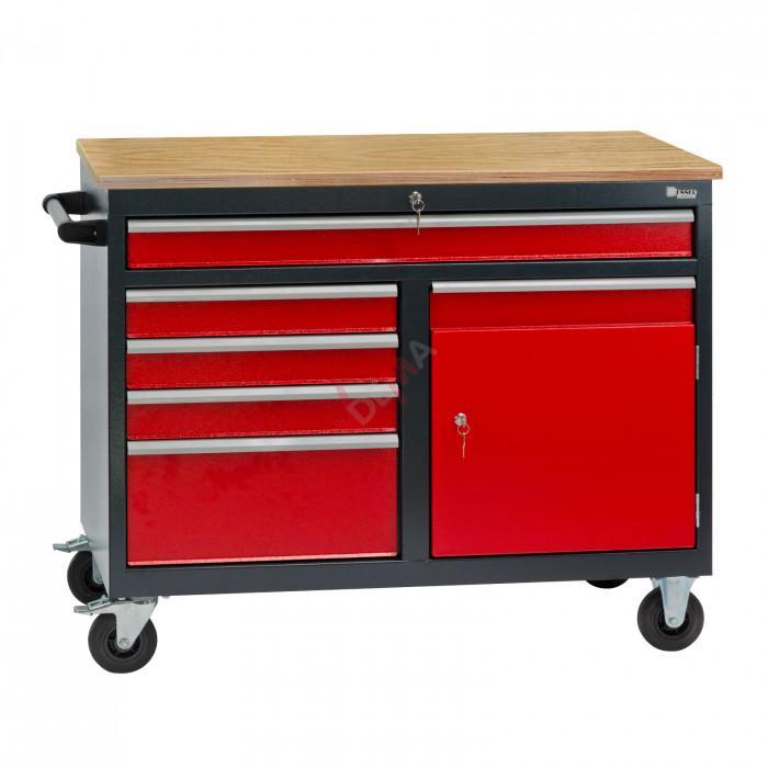 Établi mobile Servante 5 tiroirs / 1 porte 126 x 61 x 93 cm