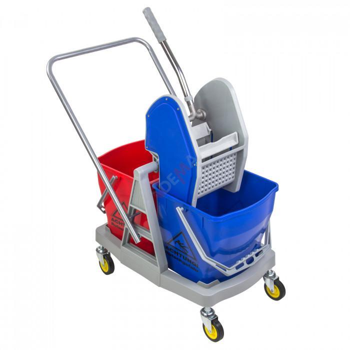 Chariot de lavage 2 bacs avec presse - 60 L - 2 seaux de 30 l