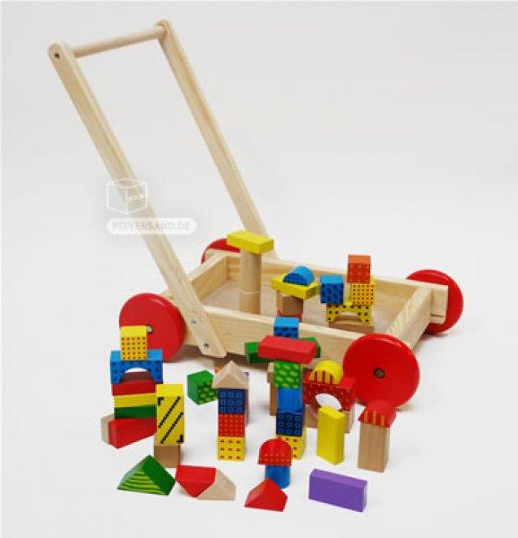 Voiture déambulateur avec cubes en bois