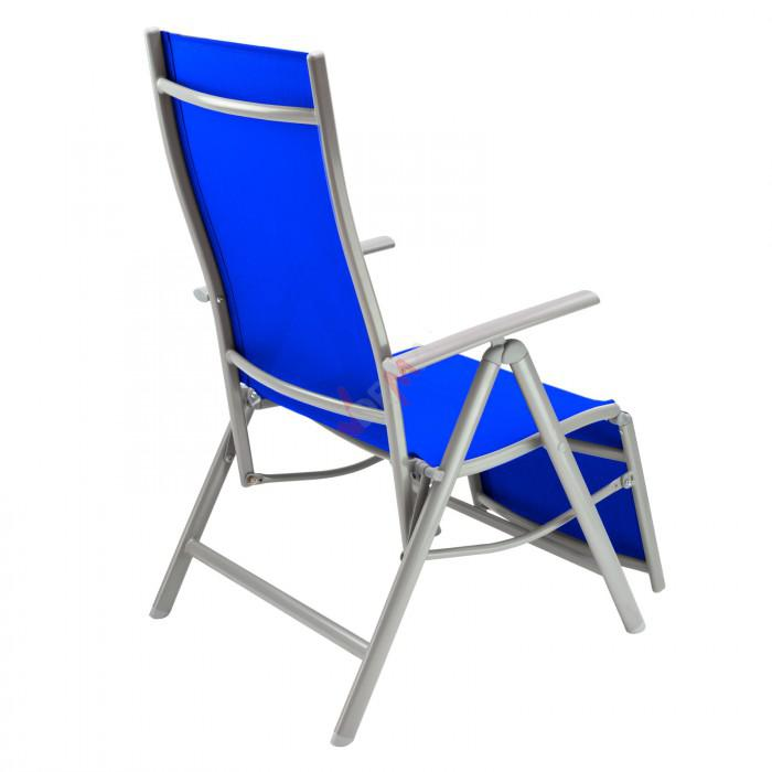 Chaise longue corona en aluminium bleu plein air for Chaise longue en aluminium