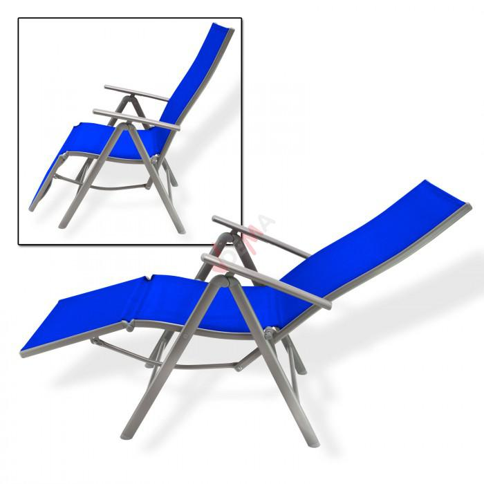 """Chaise longue """"Corona"""" en aluminium / bleu"""
