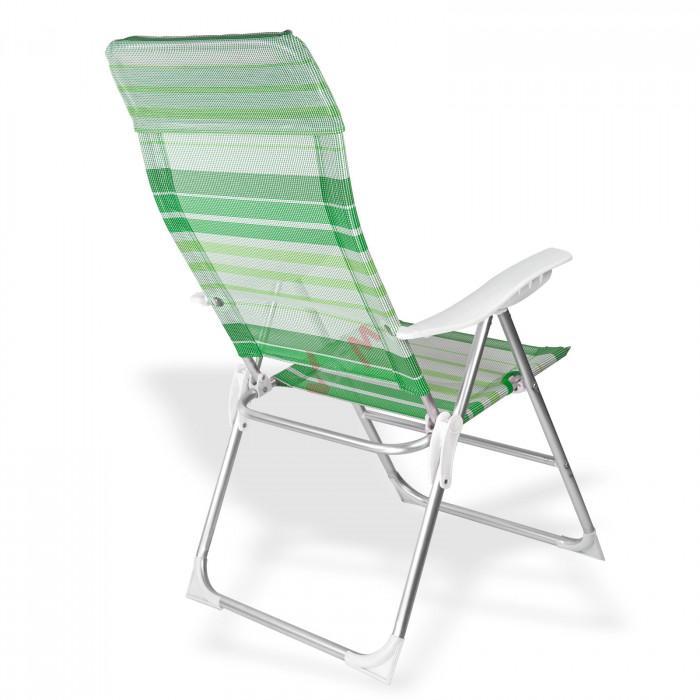 "Chaise de jardin en Aluminium ""Baltimore"" rayé vert / blanc"