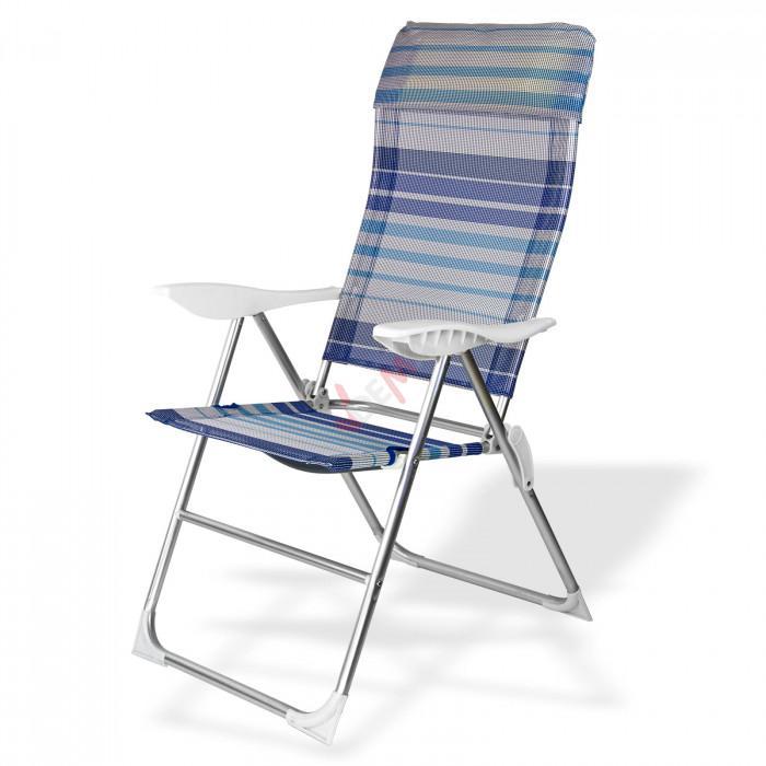 "Chaise de jardin en Aluminium ""Baltimore"" rayé bleu / blanc"