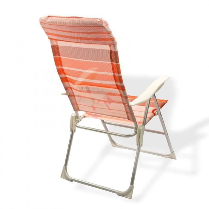 "Chaise de jardin en Aluminium ""Baltimore"" rayé orange/blanc"