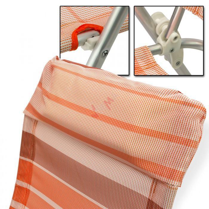 "Chaise de jardin en Aluminium ""Baltimore"" rayé orange/blanc"