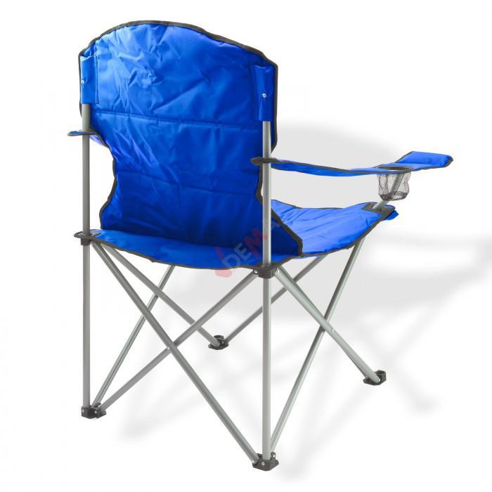 Chaise pliante avec porte-boissons - Couleur bleue