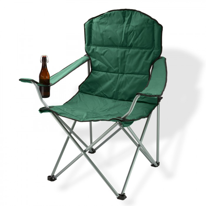 Chaise pliante avec porte-boissons - couleur verte
