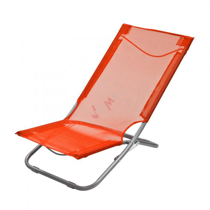 Chaise pliante plage piscine de couleur orange plein for Chaise longue pliante plage