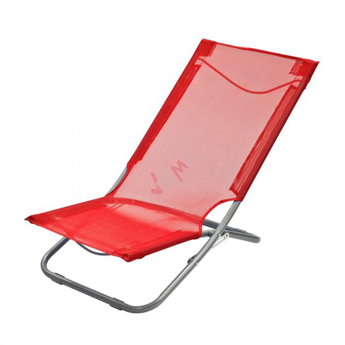 Chaise pliante plage piscine de couleur rouge plein air camping - Chaise pliante rouge ...