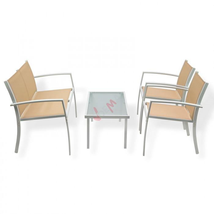 salon de jardin miami beige 4 personnes plein air. Black Bedroom Furniture Sets. Home Design Ideas