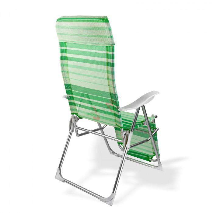 """Chaise longue pliante """"Sunnyvale"""" Rayé Vert / Blanc"""
