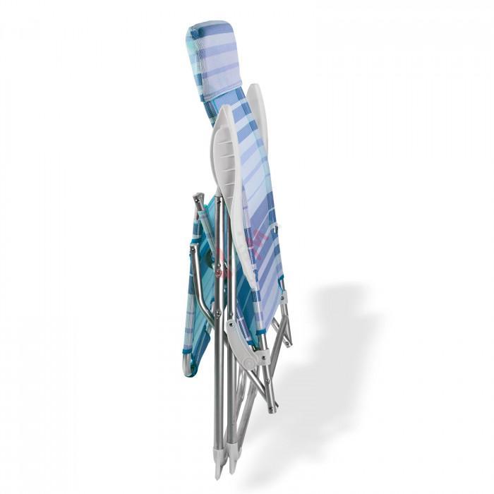 """Chaise longue pliante """"Sunnyvale"""" Rayé Bleu/blanc"""