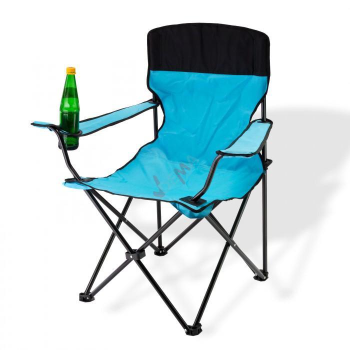 Chaise pliante bleue avec porte-boissons