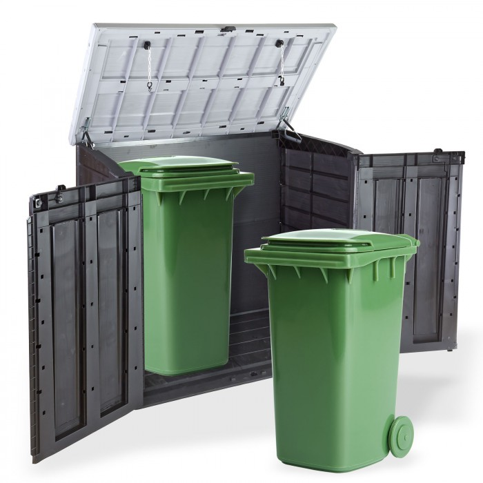 abri rangement de jardin coffre cache poubelle xl 2 x 240 litres d coration ext rieure. Black Bedroom Furniture Sets. Home Design Ideas