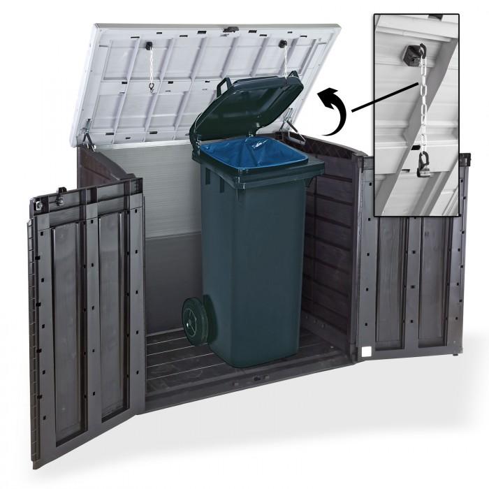 Abri Rangement de jardin - Coffre - Cache poubelle XL  2 x 240 litres