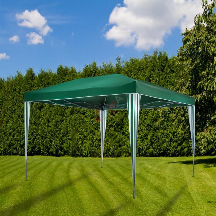 Tonnelle / Pavillon pliable en aluminium vert 300 x 300 x 255 cm