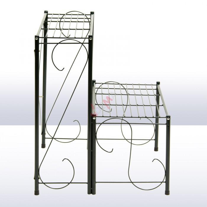 tag re pour plantes en m tal 2 niveaux rangement. Black Bedroom Furniture Sets. Home Design Ideas