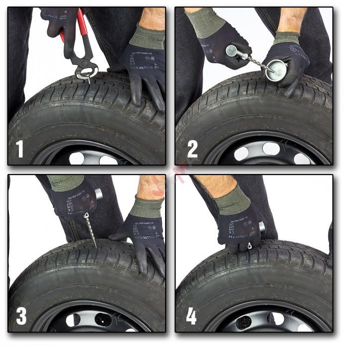 Kit de réparation de pneus tubeless  En mallette PVC - 40 pièces